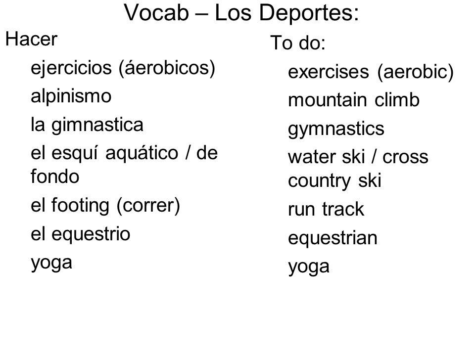 Vocab – Los Deportes: Hacer To do: ejercicios (áerobicos)