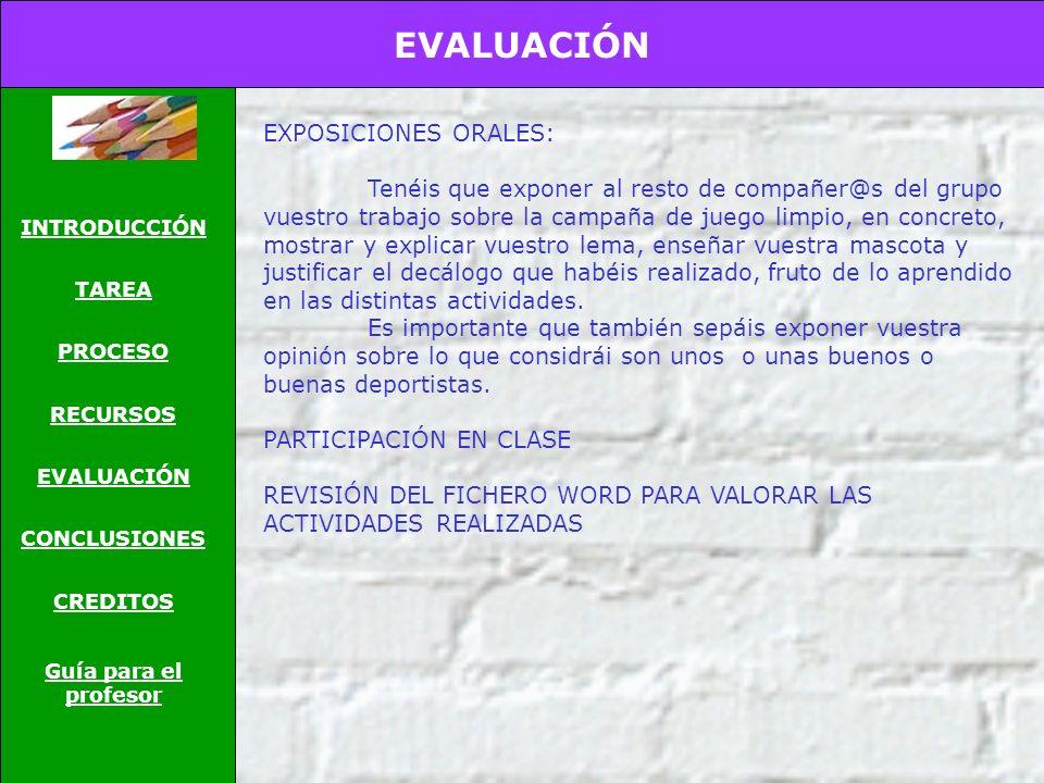 EVALUACIÓN EXPOSICIONES ORALES:
