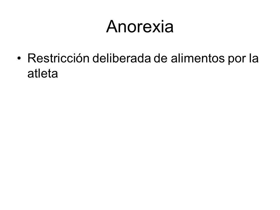 Anorexia Restricción deliberada de alimentos por la atleta