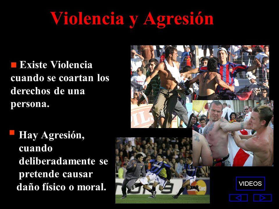 Violencia y Agresión Existe Violencia cuando se coartan los derechos de una persona. Hay Agresión, cuando deliberadamente se pretende causar.