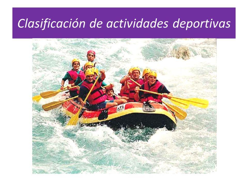 Clasificación de actividades deportivas