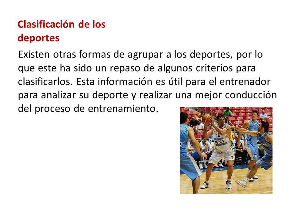 Clasificación de los deportes