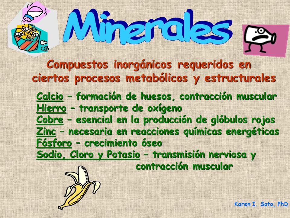 Minerales Compuestos inorgánicos requeridos en