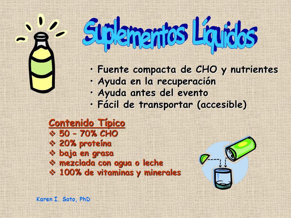 Suplementos Líquidos Fuente compacta de CHO y nutrientes