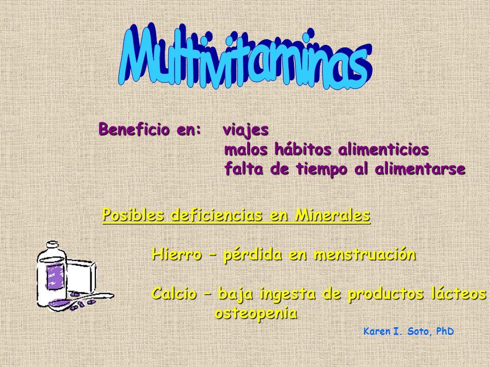 Multivitaminas Beneficio en: viajes malos hábitos alimenticios