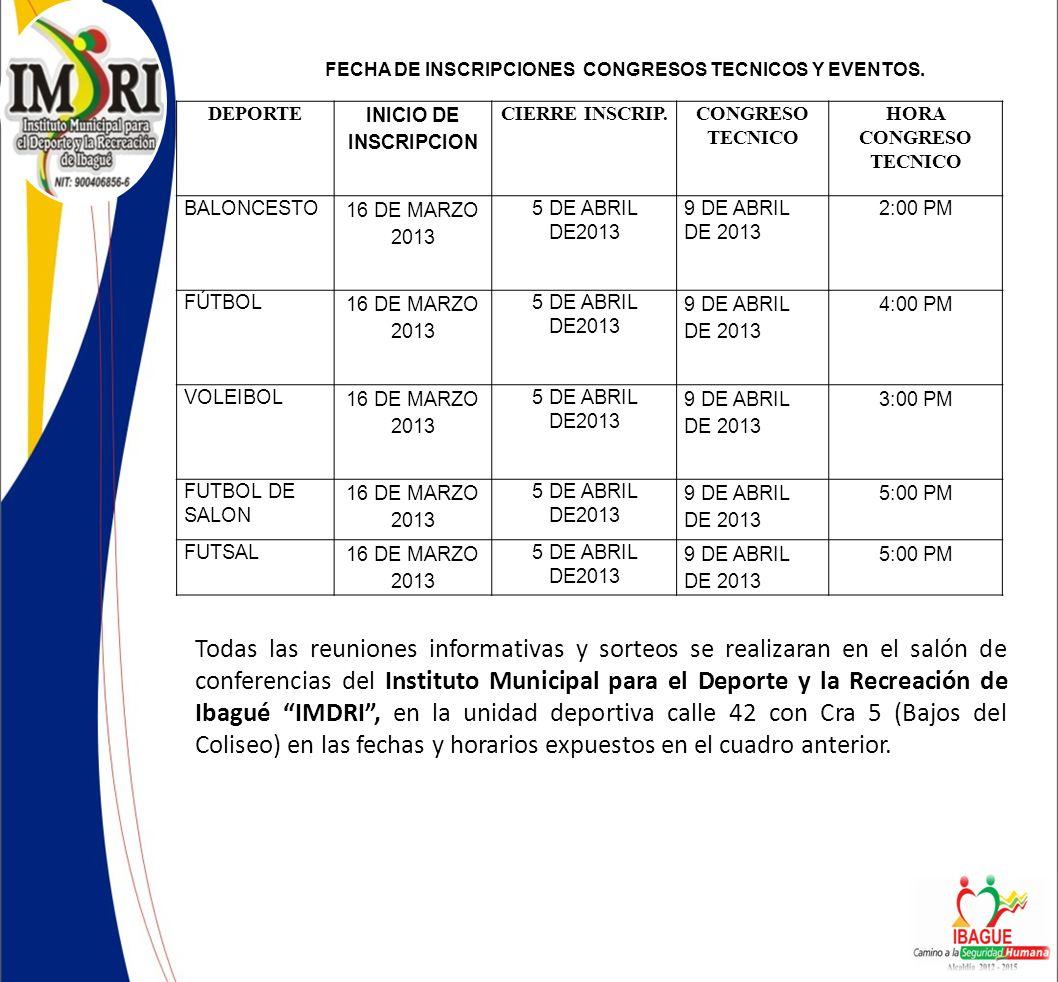 FECHA DE INSCRIPCIONES CONGRESOS TECNICOS Y EVENTOS.