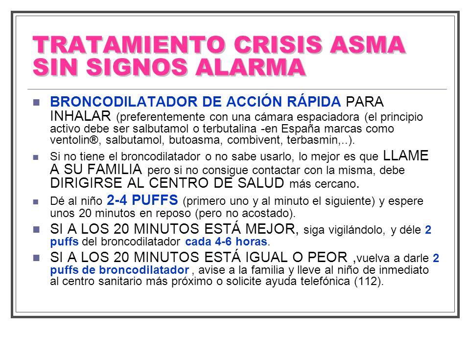 TRATAMIENTO CRISIS ASMA SIN SIGNOS ALARMA