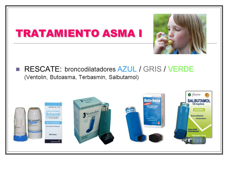TRATAMIENTO ASMA I RESCATE: broncodilatadores AZUL / GRIS / VERDE (Ventolin, Butoasma, Terbasmin, Salbutamol)