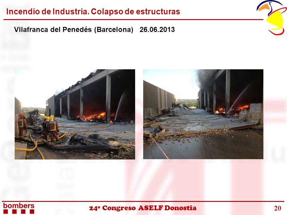 Incendio de Industria. Colapso de estructuras