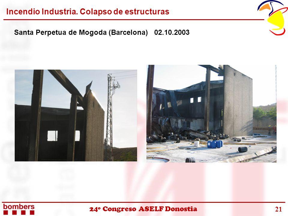 Incendio Industria. Colapso de estructuras