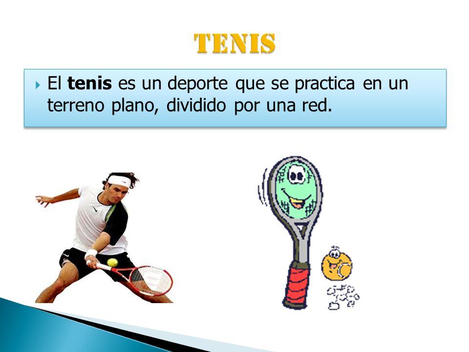 TENIS El tenis es un deporte que se practica en un terreno plano, dividido por una red.