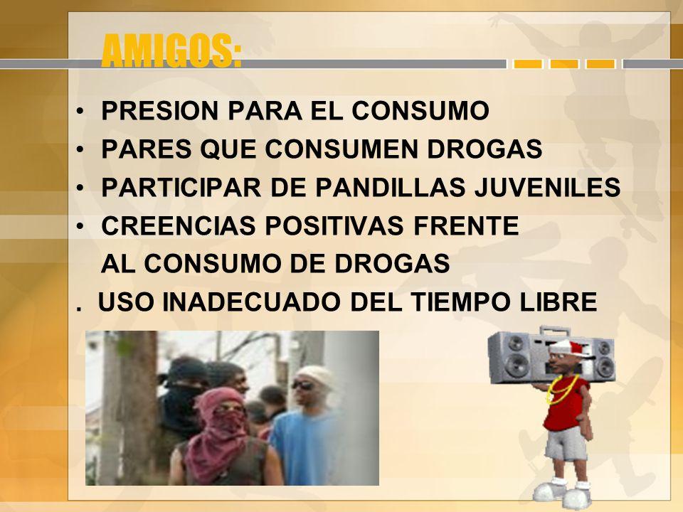 AMIGOS: PRESION PARA EL CONSUMO PARES QUE CONSUMEN DROGAS