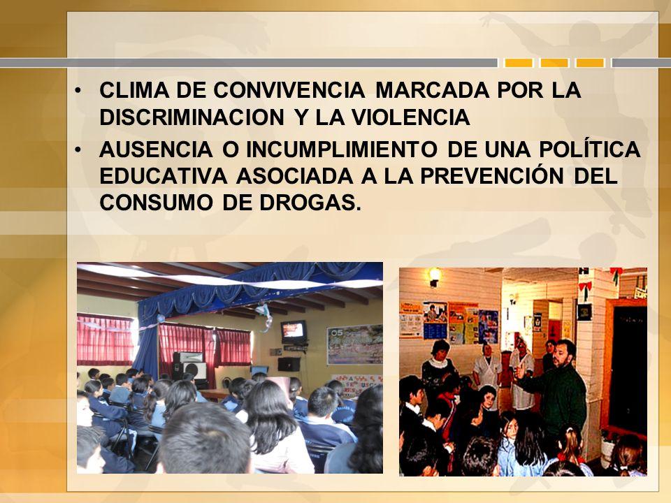CLIMA DE CONVIVENCIA MARCADA POR LA DISCRIMINACION Y LA VIOLENCIA