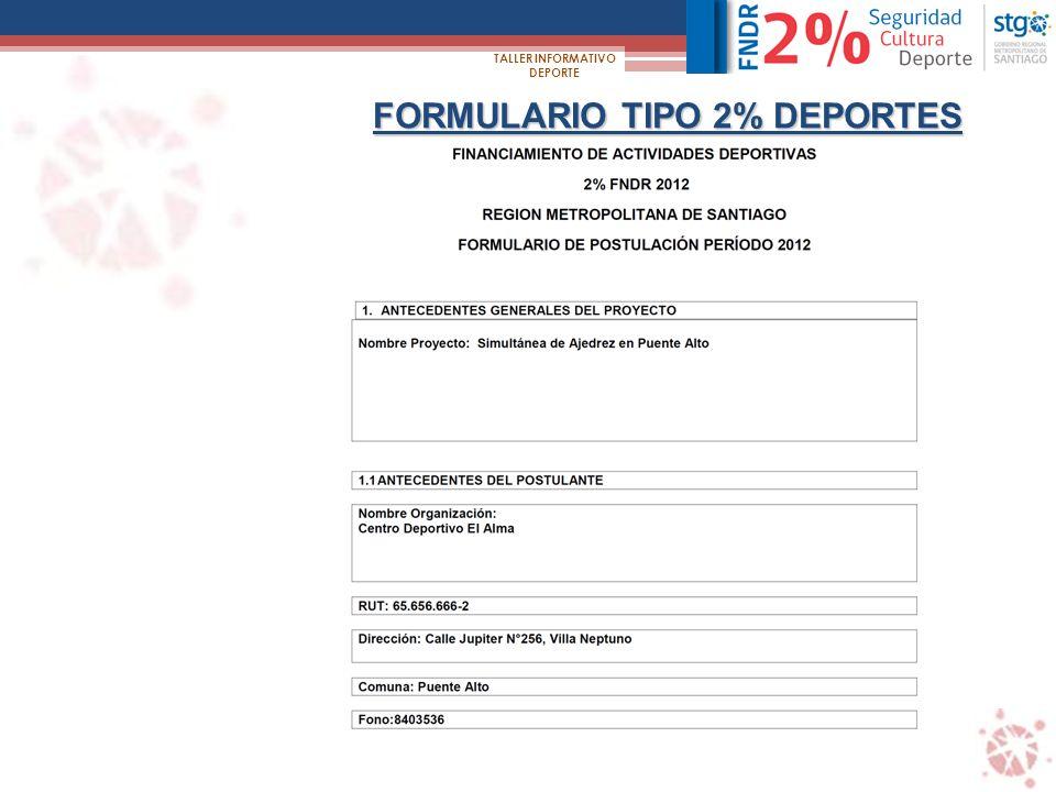 FORMULARIO TIPO 2% DEPORTES