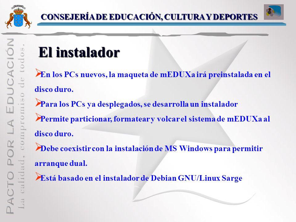 El instalador CONSEJERÍA DE EDUCACIÓN, CULTURA Y DEPORTES