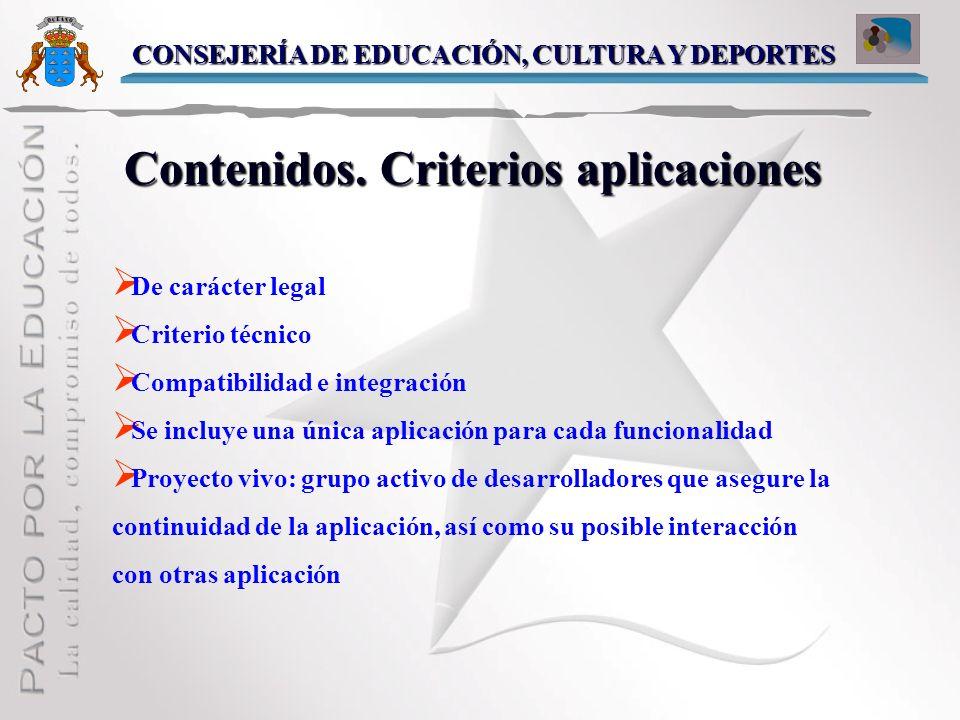 Contenidos. Criterios aplicaciones
