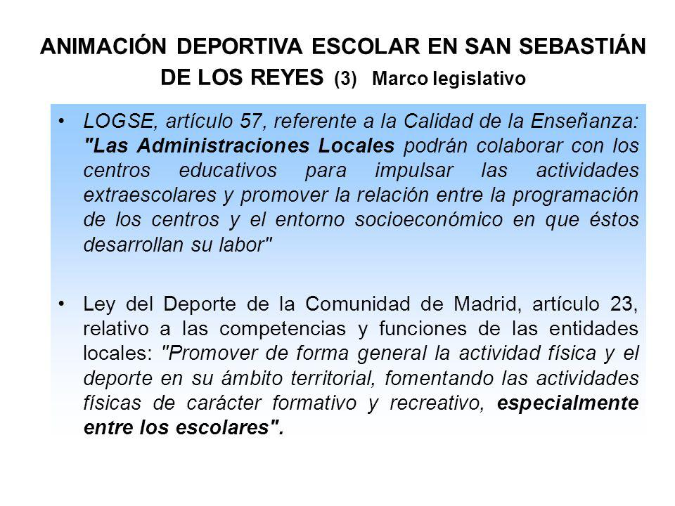 ANIMACIÓN DEPORTIVA ESCOLAR EN SAN SEBASTIÁN DE LOS REYES (3) Marco legislativo