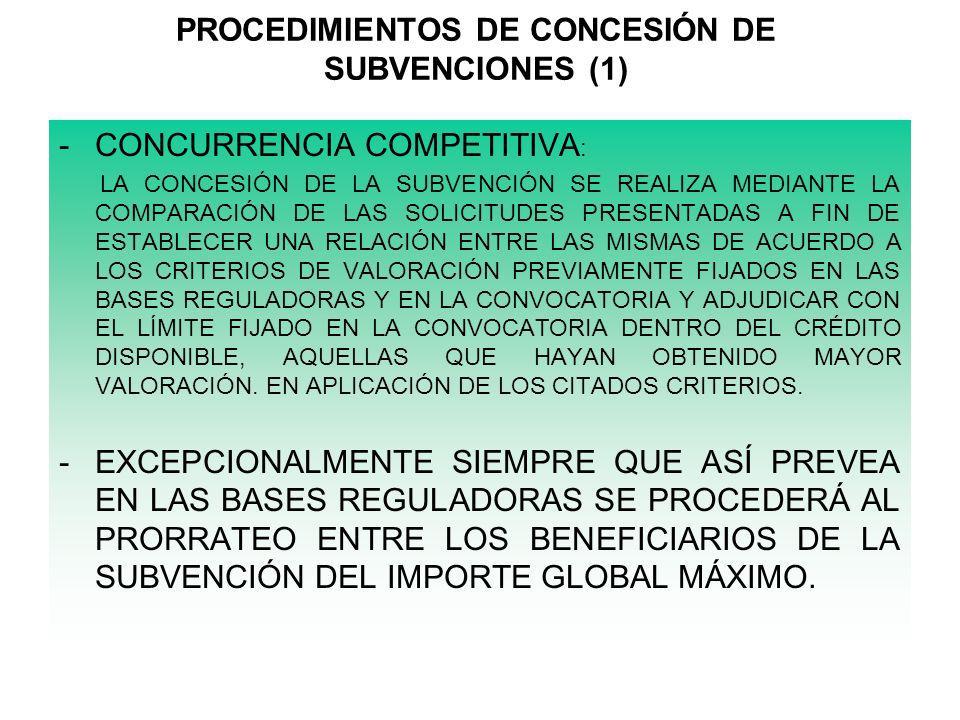 PROCEDIMIENTOS DE CONCESIÓN DE SUBVENCIONES (1)