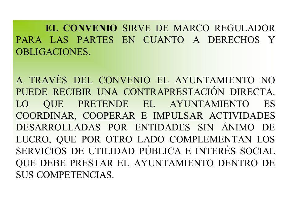 EL CONVENIO SIRVE DE MARCO REGULADOR PARA LAS PARTES EN CUANTO A DERECHOS Y OBLIGACIONES.