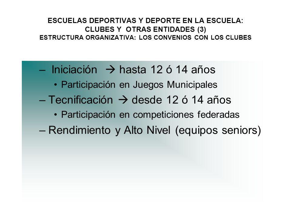 Iniciación  hasta 12 ó 14 años Tecnificación  desde 12 ó 14 años