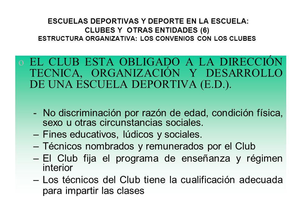 ESCUELAS DEPORTIVAS Y DEPORTE EN LA ESCUELA: CLUBES Y OTRAS ENTIDADES (6) ESTRUCTURA ORGANIZATIVA: LOS CONVENIOS CON LOS CLUBES