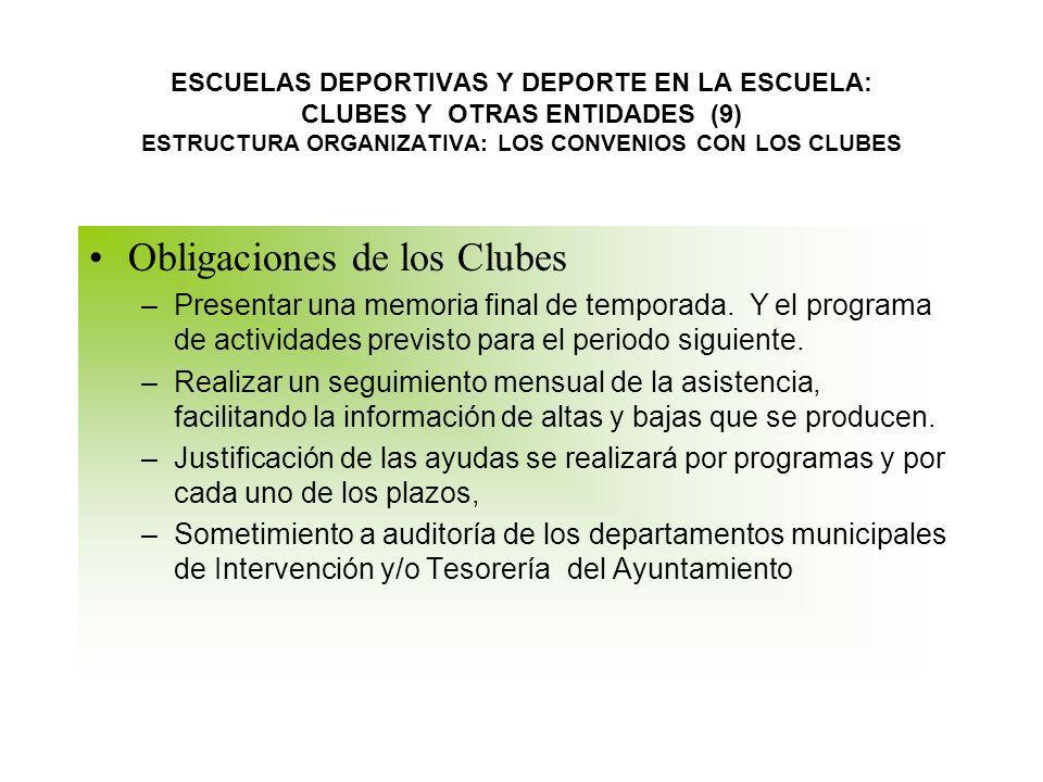 Obligaciones de los Clubes