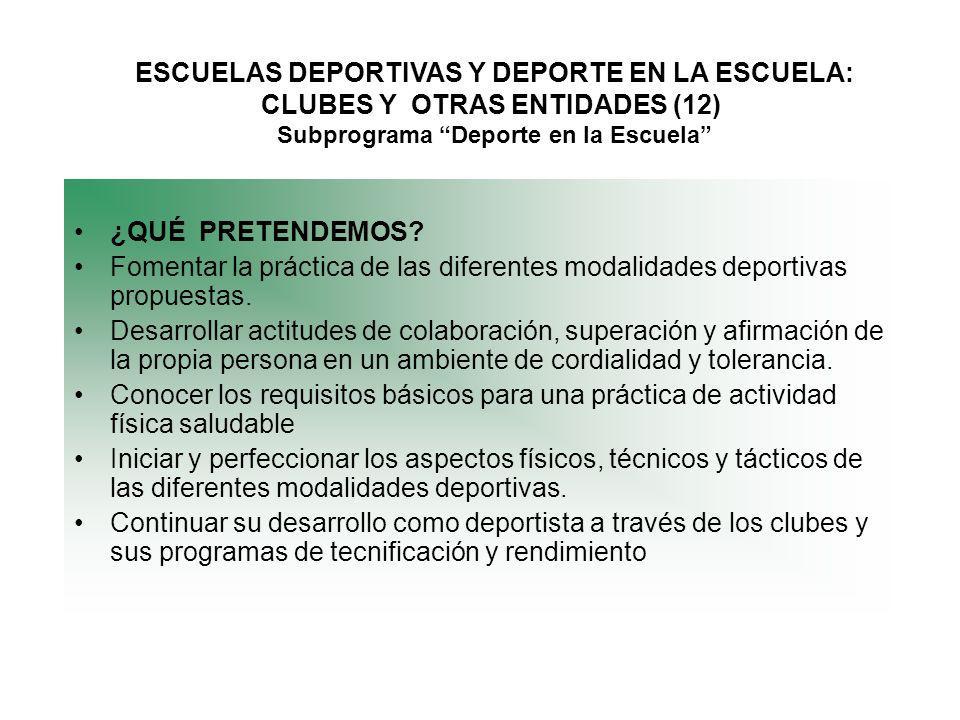 ESCUELAS DEPORTIVAS Y DEPORTE EN LA ESCUELA: CLUBES Y OTRAS ENTIDADES (12) Subprograma Deporte en la Escuela