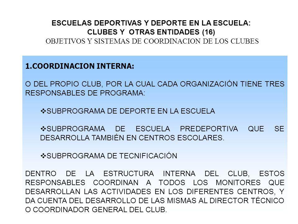ESCUELAS DEPORTIVAS Y DEPORTE EN LA ESCUELA: CLUBES Y OTRAS ENTIDADES (16) OBJETIVOS Y SISTEMAS DE COORDINACION DE LOS CLUBES