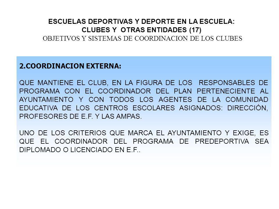 ESCUELAS DEPORTIVAS Y DEPORTE EN LA ESCUELA: CLUBES Y OTRAS ENTIDADES (17) OBJETIVOS Y SISTEMAS DE COORDINACION DE LOS CLUBES