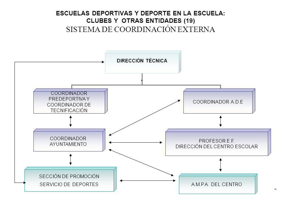 ESCUELAS DEPORTIVAS Y DEPORTE EN LA ESCUELA: CLUBES Y OTRAS ENTIDADES (19) SISTEMA DE COORDINACIÓN EXTERNA