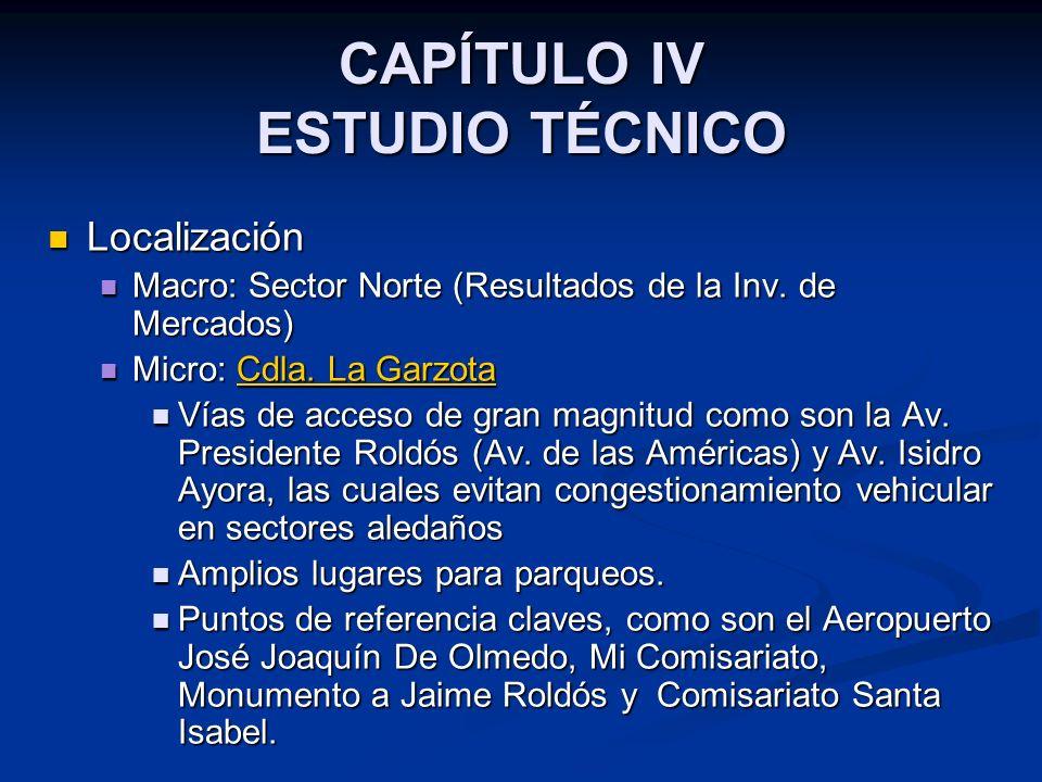 CAPÍTULO IV ESTUDIO TÉCNICO