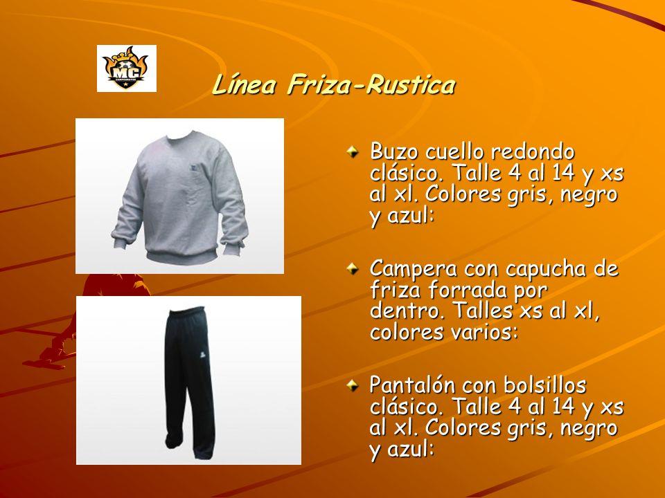 Línea Friza-Rustica Buzo cuello redondo clásico. Talle 4 al 14 y xs al xl. Colores gris, negro y azul: