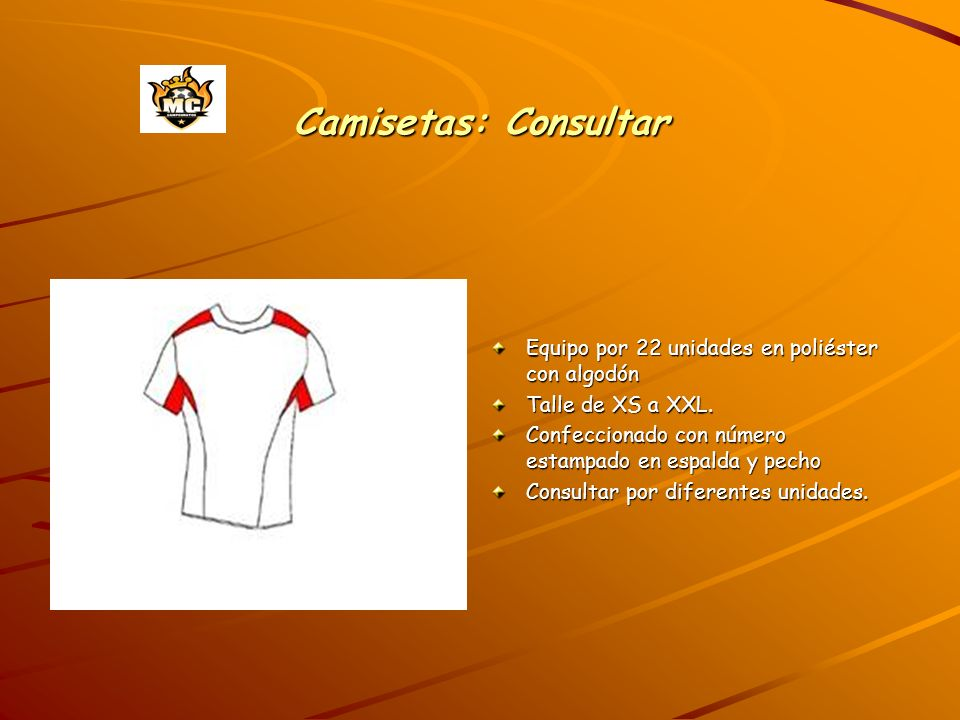 Camisetas: Consultar Equipo por 22 unidades en poliéster con algodón