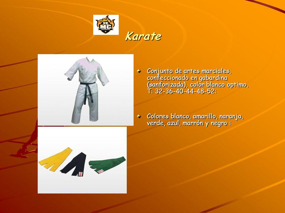 Karate Conjunto de artes marciales, confeccionado en gabardina (sanforizada), color blanco optimo, T: 32-36-40-44-48-52: