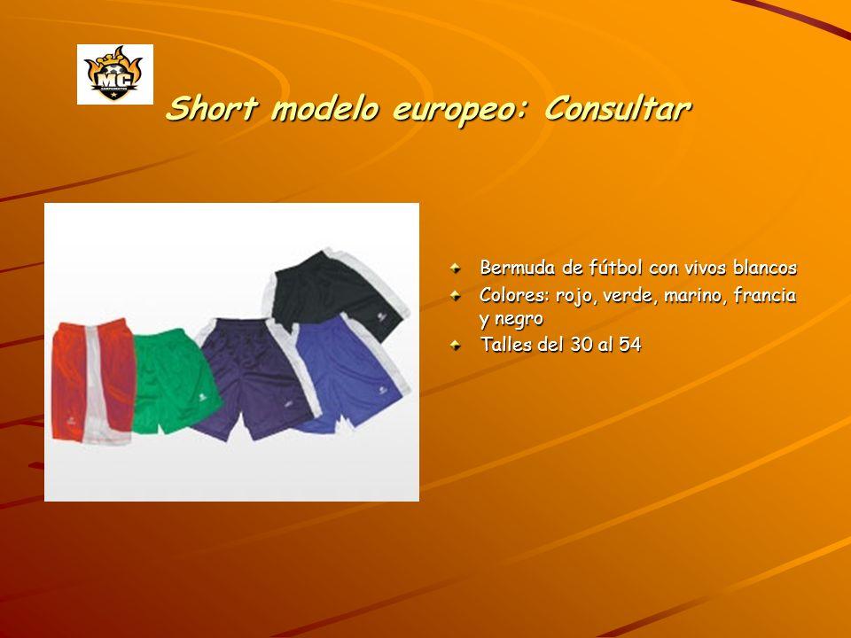 Short modelo europeo: Consultar