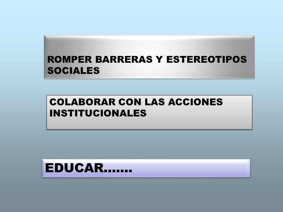EDUCAR....... ROMPER BARRERAS Y ESTEREOTIPOS SOCIALES