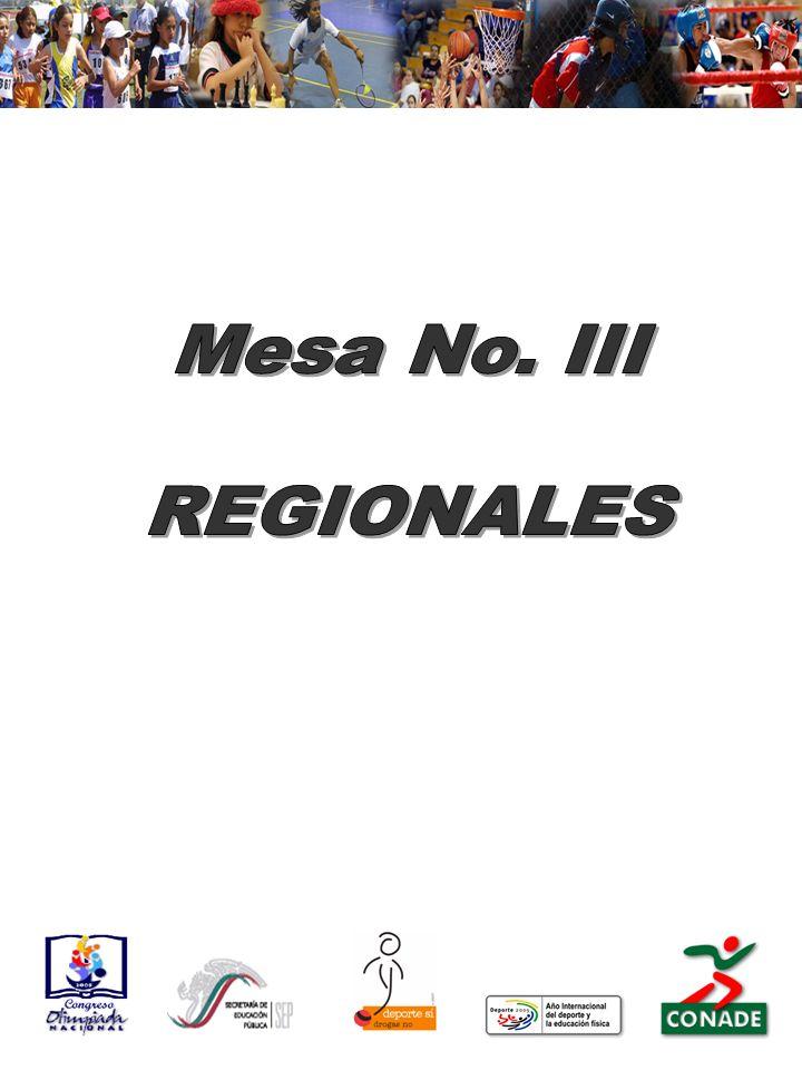 Mesa No. III REGIONALES