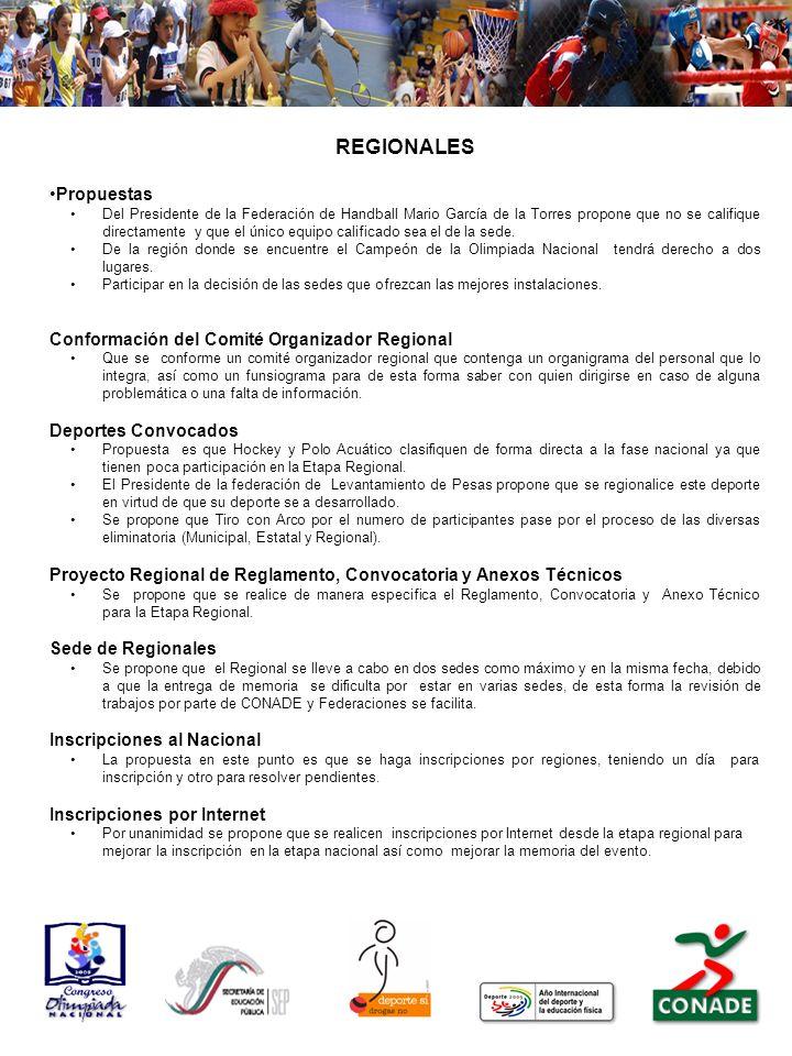 REGIONALES Propuestas Conformación del Comité Organizador Regional