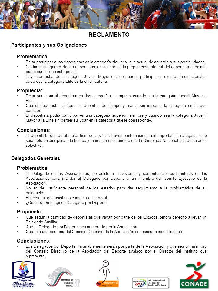 REGLAMENTO Conclusiones: Participantes y sus Obligaciones