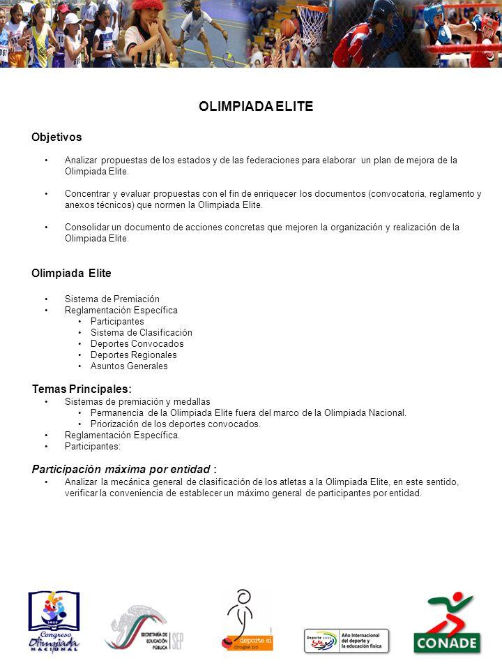 OLIMPIADA ELITE Objetivos Olimpiada Elite Temas Principales: