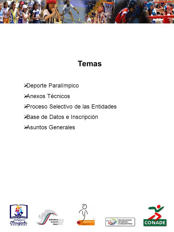 Temas Deporte Paralímpico Anexos Técnicos