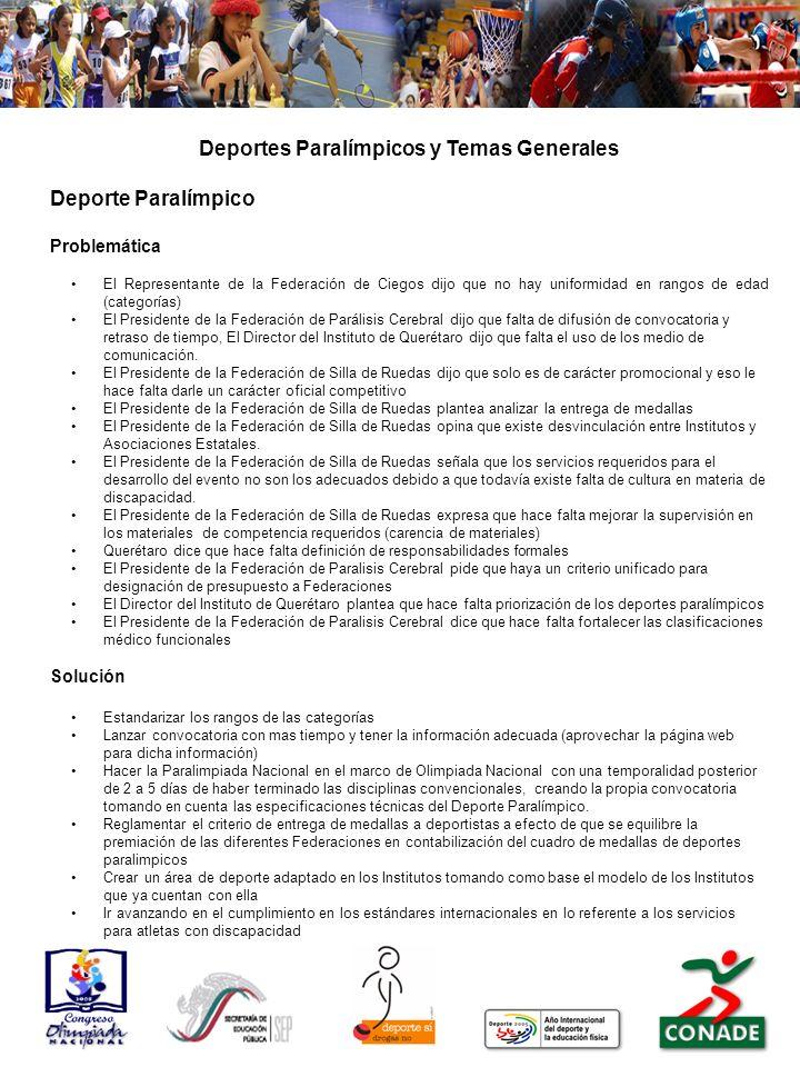 Deportes Paralímpicos y Temas Generales