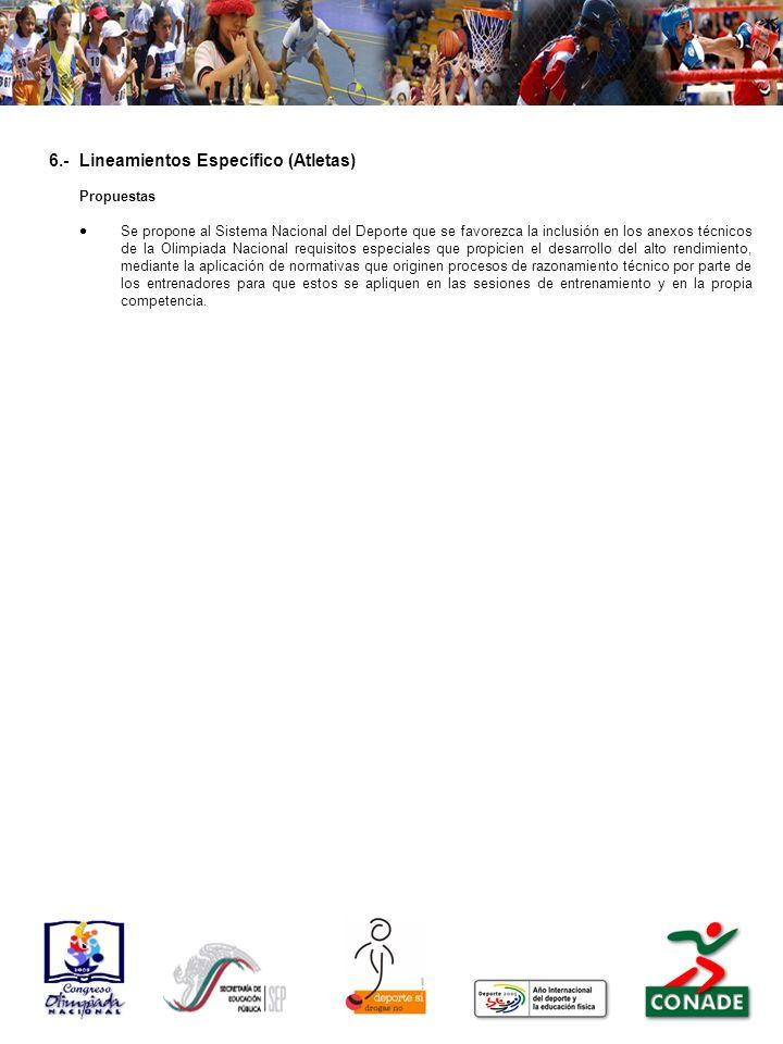 6.- Lineamientos Específico (Atletas)