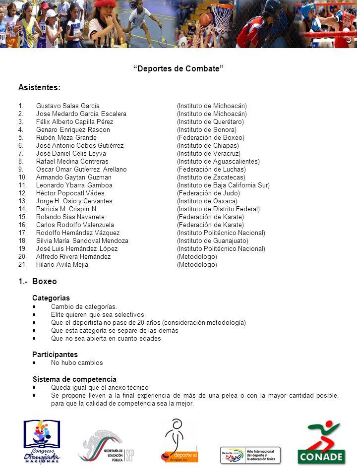 Deportes de Combate Asistentes: 1.- Boxeo Categorías Participantes