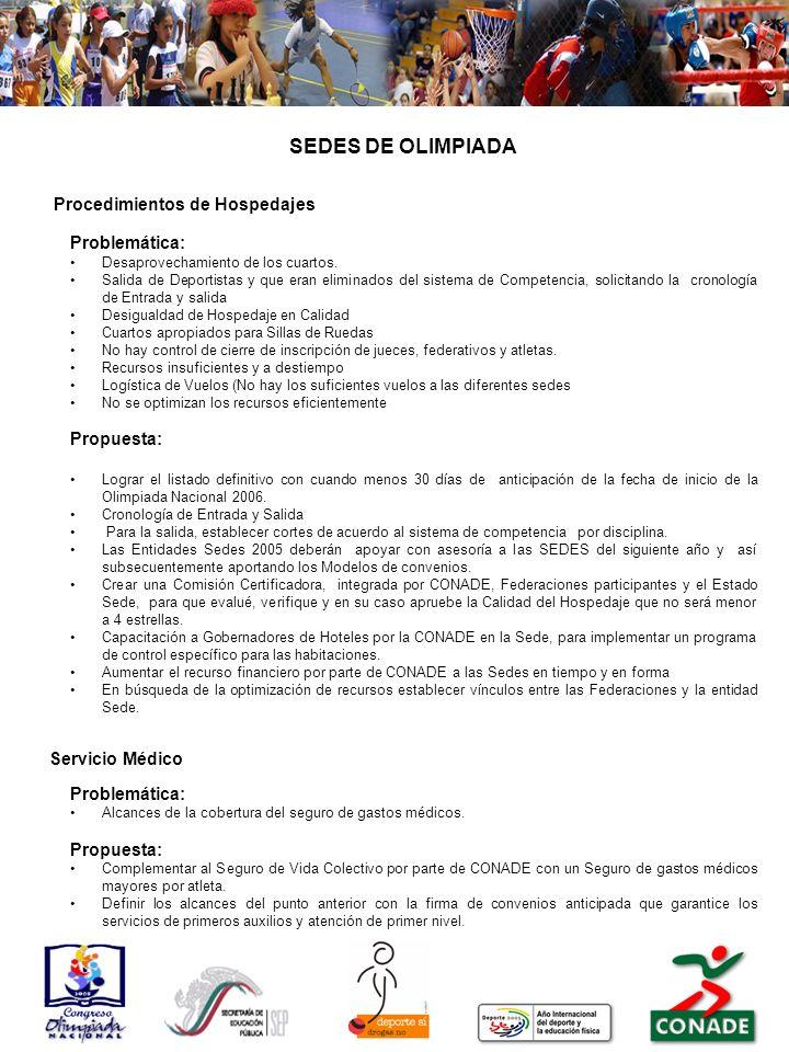 SEDES DE OLIMPIADA Problemática: Propuesta: Servicio Médico