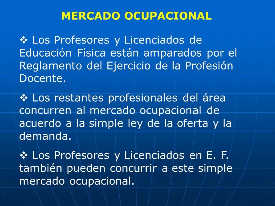 MERCADO OCUPACIONAL Los Profesores y Licenciados de Educación Física están amparados por el Reglamento del Ejercicio de la Profesión Docente.