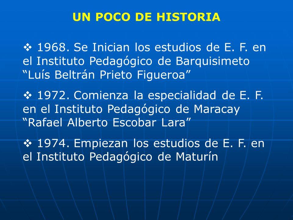 UN POCO DE HISTORIA 1968. Se Inician los estudios de E. F. en el Instituto Pedagógico de Barquisimeto Luís Beltrán Prieto Figueroa