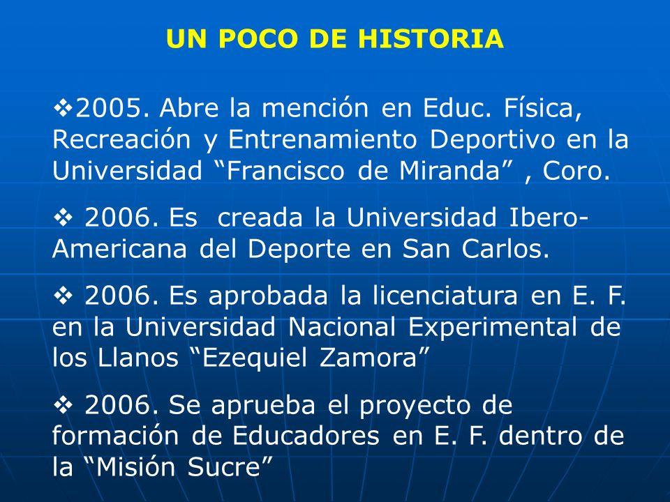 UN POCO DE HISTORIA 2005. Abre la mención en Educ. Física, Recreación y Entrenamiento Deportivo en la Universidad Francisco de Miranda , Coro.
