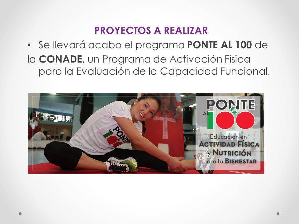 PROYECTOS A REALIZAR Se llevará acabo el programa PONTE AL 100 de.