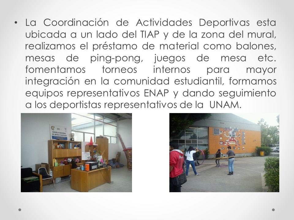 La Coordinación de Actividades Deportivas esta ubicada a un lado del TIAP y de la zona del mural, realizamos el préstamo de material como balones, mesas de ping-pong, juegos de mesa etc.
